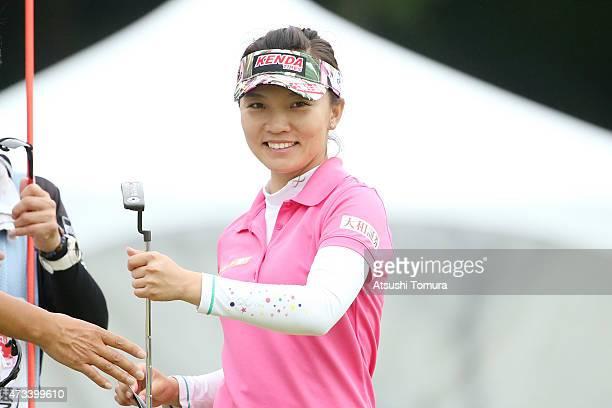 Teresa Lu of Taiwan smiles during the first round of the HokennoMadoguchi Ladies at the Fukuoka Country Club Ishino Course on May 15 2015 in Fukuoka...