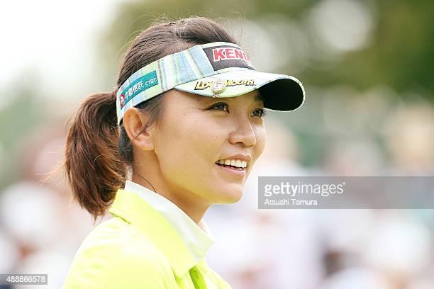 Teresa Lu of Taiwan smiles during the first round of the Munsingwear Ladies Tokai Classic at the Shin Minami Aichi Country Club Mihama Course on...