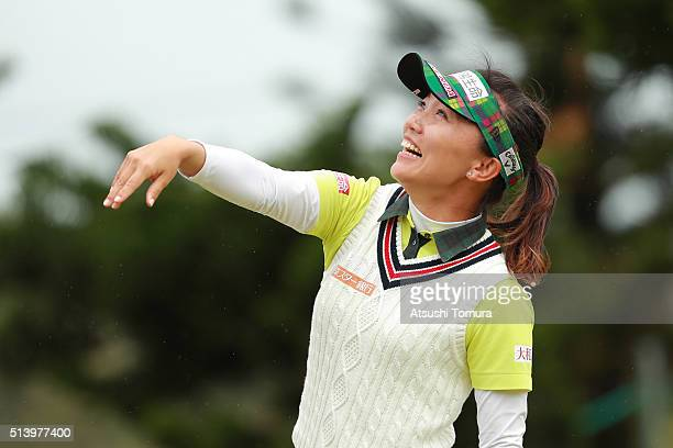 Teresa Lu of Taiwan throw her ball into the crowd during the Daikin Orchid Ladies Golf Tournament at the Ryukyu Golf Club on March 6 2016 in Nanjo...