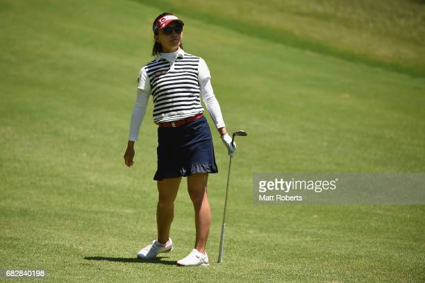 Teresa Lu of Taiwan watches her approach shot on the 17th hole during the final round of the HokennoMadoguchi Ladies at the Fukuoka Country Club...