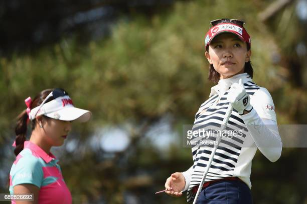 Teresa Lu of Taiwan watches her tee shot on the 3rd hole during the final round of the HokennoMadoguchi Ladies at the Fukuoka Country Club Wajiro...
