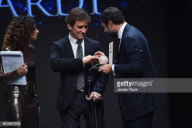 Teresa Mannino Alex Zanardi and Giudo Damiani attend the 'Gazzetta Awards' on December 17 2015 in Milan Italy