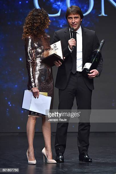 Teresa Mannino and Antonio Conte attends the 'Gazzetta Awards' on December 17 2015 in Milan Italy