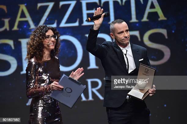 Teresa Mannino and Eros Ramazzotti attend the 'Gazzetta Awards' on December 17 2015 in Milan Italy