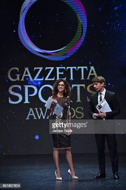 Teresa Mannino and Giorgio Pasotti attend the 'Gazzetta Awards' on December 17 2015 in Milan Italy