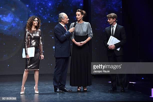 Teresa Mannino Andrea Monti Elisa Di Francisca Giorgio Pasotti attend the 'Gazzetta Awards' on December 17 2015 in Milan Italy