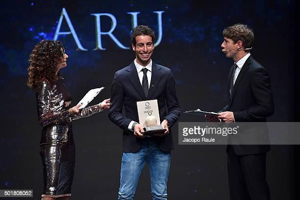 Teresa Mannino Fabio Aru and Giorgio Pasotti attend the 'Gazzetta Awards' on December 17 2015 in Milan Italy