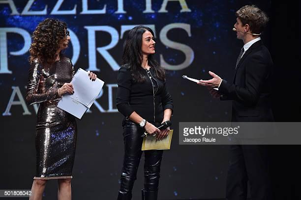 Teresa Mannino Giusy Versace and Giorgio Pasotti attend the 'Gazzetta Awards' on December 17 2015 in Milan Italy
