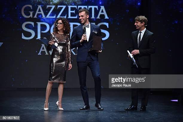 Teresa Mannino Gregorio Paltrinieri and Giorgio Pasotti attend the 'Gazzetta Awards' on December 17 2015 in Milan Italy