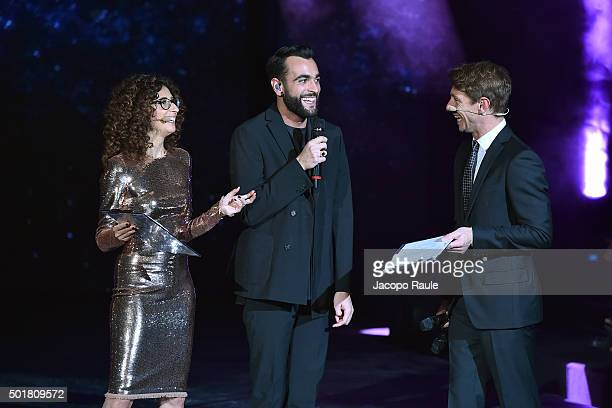 Teresa Mannino Marco Mengoni and Giorio Pasotti attend the 'Gazzetta Awards' on December 17 2015 in Milan Italy
