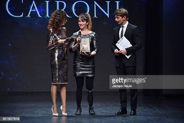 Teresa Mannino Martina Caironi and Giorgio Pasotti attend the 'Gazzetta Awards' on December 17 2015 in Milan Italy