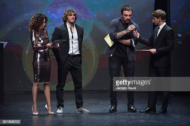 Teresa Mannino Mirco Bergamasco Gabriele Rubini and Giorgio Pasotti attend the 'Gazzetta Awards' on December 17 2015 in Milan Italy