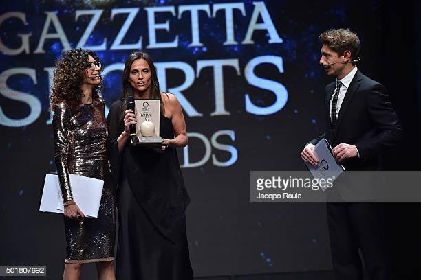 Teresa Mannino Roberta Vinci and Giorgio Pasotti attend the 'Gazzetta Awards' on December 17 2015 in Milan Italy