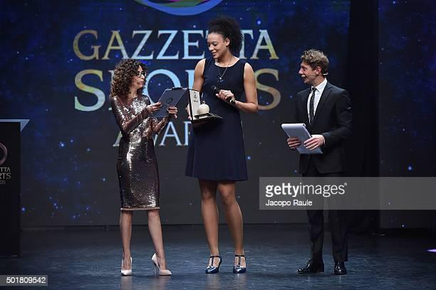 Teresa Mannino Valentina Diouf and Giorgio Pasotti attend the 'Gazzetta Awards' on December 17 2015 in Milan Italy