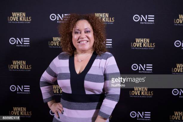 Teresa Marie Majic 1023 FM poses for a photo on the red carpet at TV One's DC Premiere of When Love Kills The Falicia Blakely Story with a QampA...