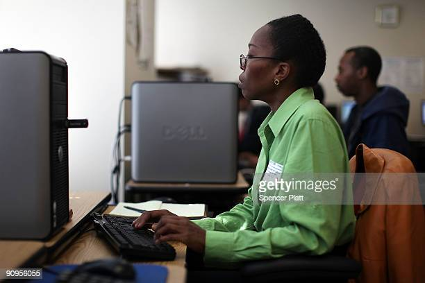 Teresa Mendez uses the internet to search for work at a New York State employment center on September 18 2009 in New York City While the nation's...