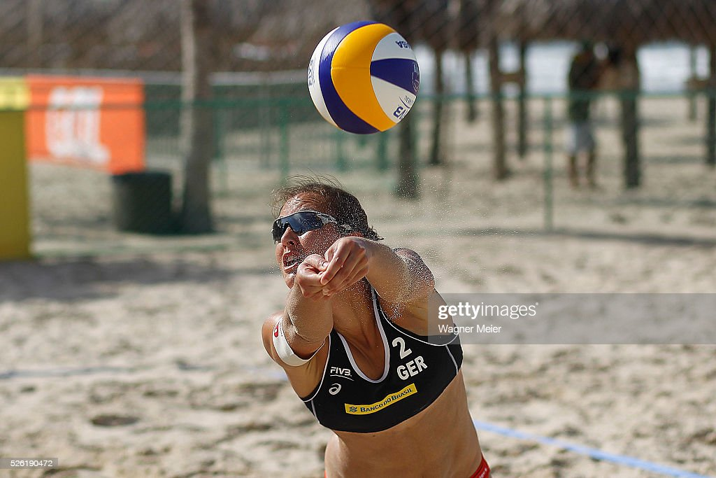 Teresa Mersmann of Germany in action during main draw match against Venezuela during the FIVB Fortaleza Open on Futuro Beach on April 29, 2016 in Fortaleza, Brazil.