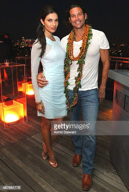 Teresa Moore and Aaron Finch attend the Vector Smartwatch NYC Press Launch on August 4 2015 in New York City