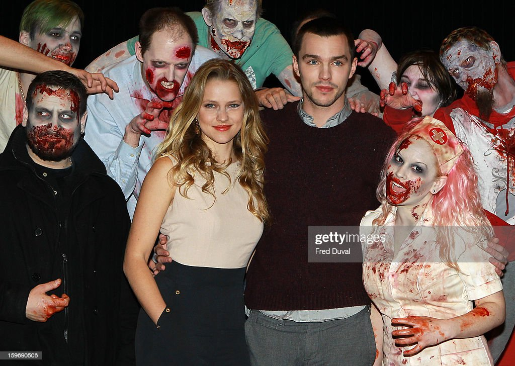 Teresa Palmer and Nicholas Hoult attend the photocall for 'Warm Bodies' at Soho Hotel on January 18, 2013 in London, England.