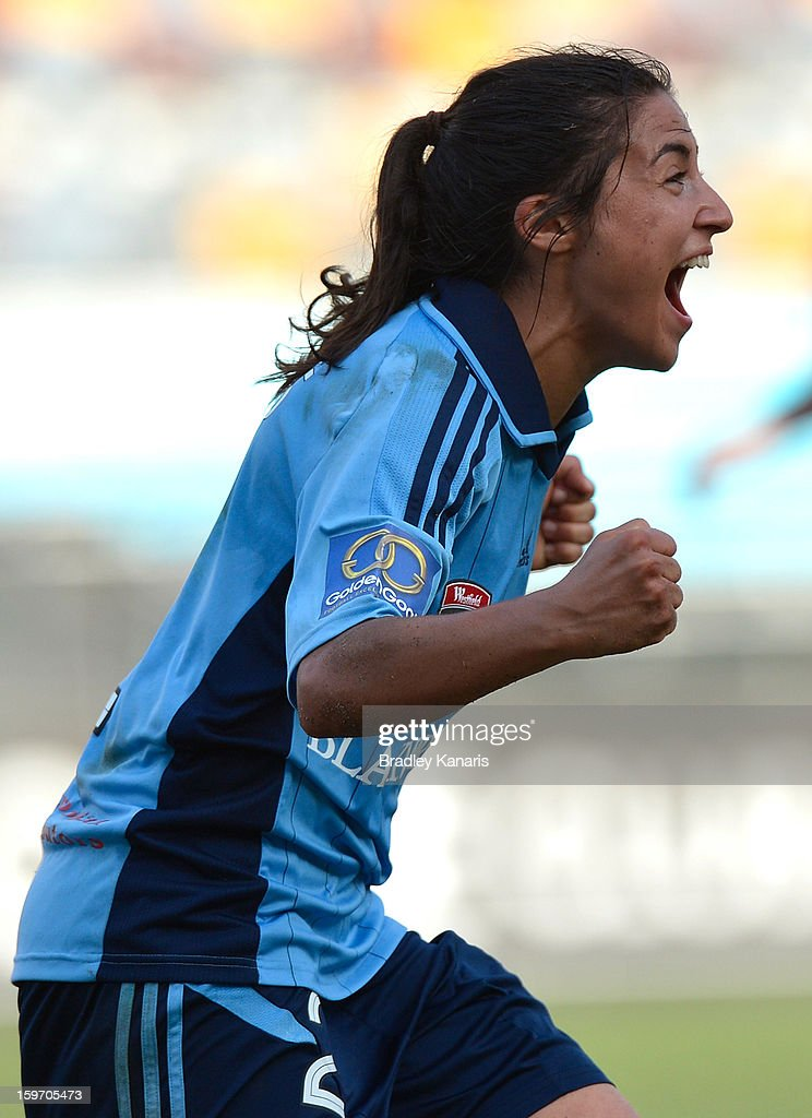 Teresa Polias of Sydney celebrates victory after the W-League Semi Final match between the Brisbane Roar and Sydney FC at Queensland Sport and Athletics Centre on January 19, 2013 in Brisbane, Australia.