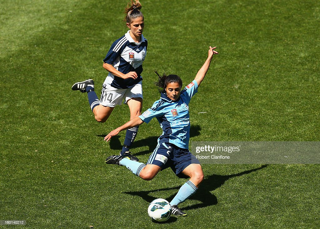 Teresa Polias of Sydney FC kicks the ball during the W-League Grand Final between the Melbourne Victory and Sydney FC at AAMI Park on January 27, 2013 in Melbourne, Australia.