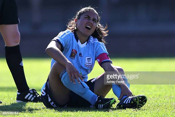 Teresa Polias of Sydney FC lays on the ground injured during the round five WLeague match between the Newcastle Jets and Sydney FC at Magic Park on...