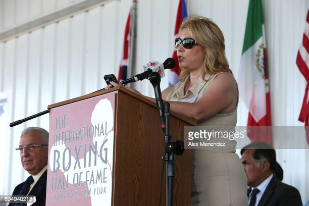 Teresa Tapia speaks for inductee Johnny Tapia during the International Boxing Hall of Fame induction Weekend of Champions event on June 11 2017 in...
