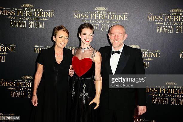 Teresa Vio Bebe Vio and Ruggero Vio walk the red carpet for Tim Burton's 'Miss Peregrine's Home for Peculiar Children' at Auditorium Della...