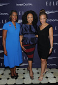 Teresa Younger Melissa Harris Perry and Lynn Whitfield attend a reception hosted by ELLE EditorinChief Robbie Myers and Center for American Progress...