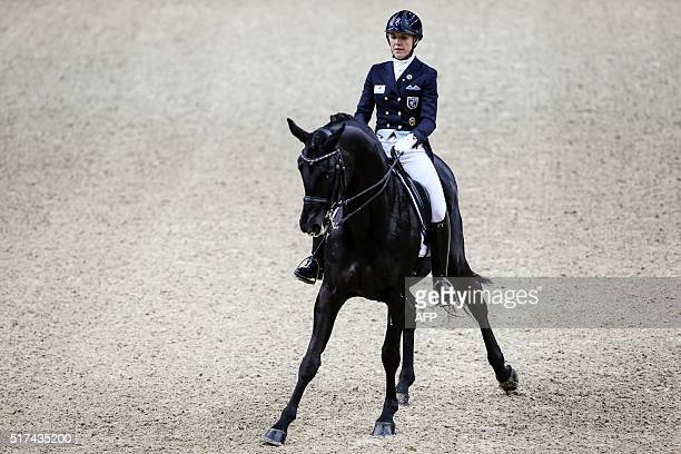 TOPSHOT Terhi Stegars of Finland rides her horse TSF during the Reem Acra FEI World Cup dressage Grand Prix event of the Gothenburg Horse Show at...