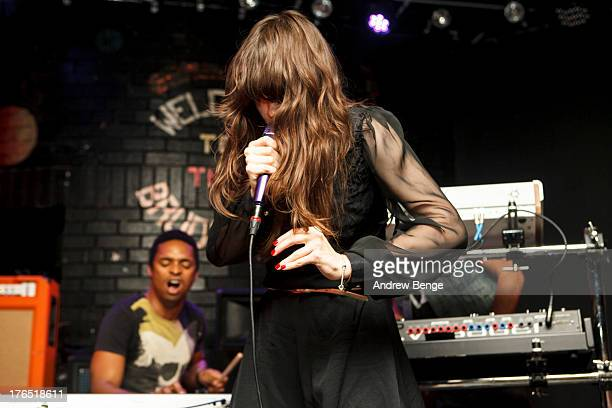 Teri Gender Bender Nicci Kasper and Deantoni Parks of Bosnian Rainbows performs on stage at Brudenell Social Club on August 14 2013 in Leeds England
