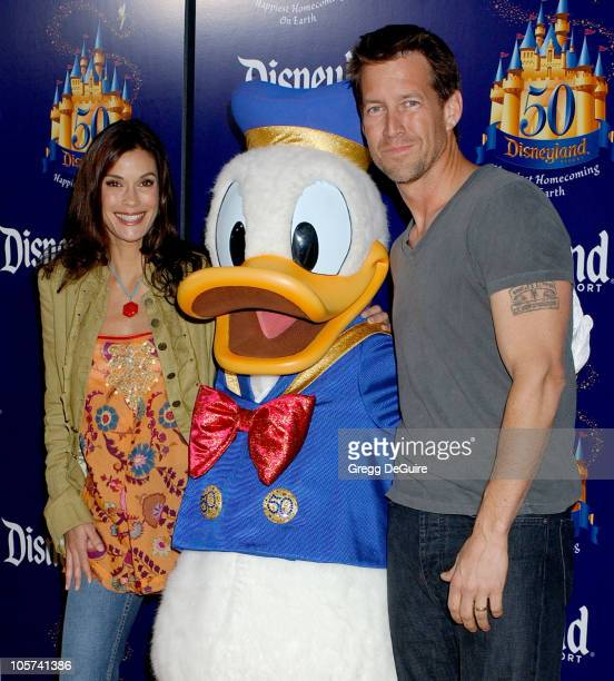 Teri Hatcher and James Denton with Donald Duck during Disneyland 50th Anniversary 'Happiest Homecoming On Earth' Celebration at Disneyland in Anaheim...