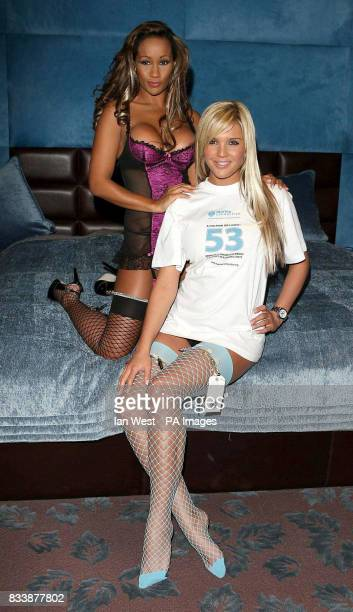 Teri Marquez and Danielle Lloyd in La Senza underwear promoting sealife charity Marine Connection's 'Safety Nets Ball' at the Mayfair Hotel in...