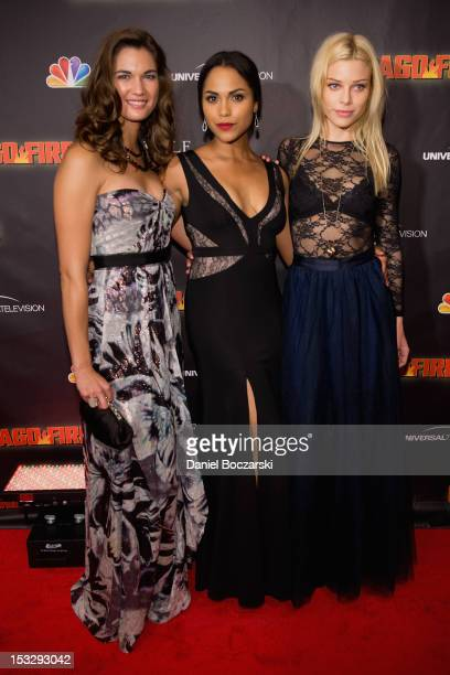 Teri Reeves Monica Raymund and Lauren German attend NBC's 'Chicago Fire' premiere at the Chicago History Museum on October 2 2012 in Chicago Illinois