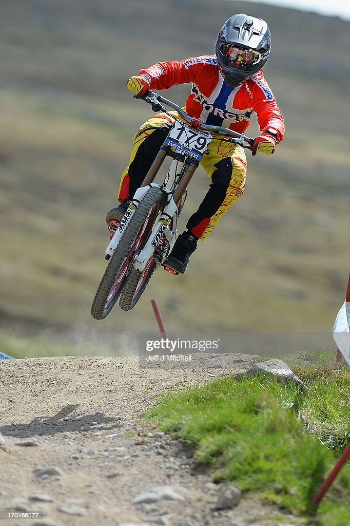 Terje Nylende of Norway competes in the men's downhill qualifying round at the UCI Mountain Bike World Cup on June 8, 2013 in Fort William, Scotland.