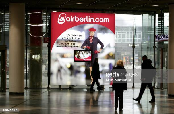 GERMANY MUNICH Terminal 1 of Franz Josef Strauss airport in Munich MuenchenErding Our picture shows a big advertisement of airberlin at Franz Josef...