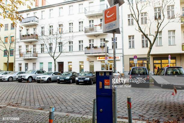 A terminal of the car sharing agency Cambio for key removal and key return is on a street on November 13 2017 in Berlin Germany A number of companies...