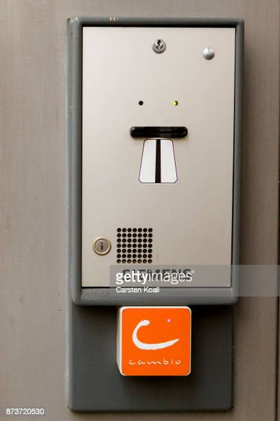 A terminal of the car sharing agency Cambio for the entrance of a car park of the pick up and drop off station on November 13 2017 in Berlin Germany...