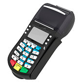 POS terminal. Credit cards. White on background
