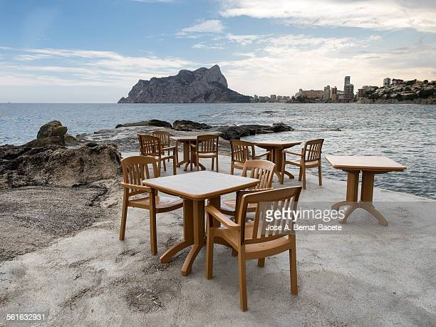 Terrace bar by the sea in Calpe.