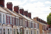 Rows of terrace houses in the UK city of Cardiff