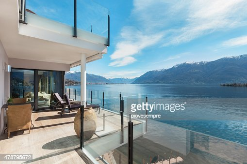 terrace of a building, beautiful landscape : Stock Photo