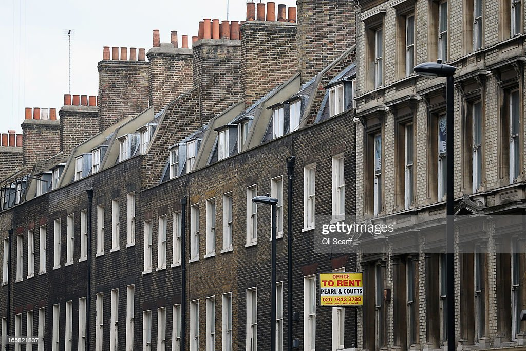 A terrace of residential properties in an affluent area of London near Oxford Street on April 6, 2013 in London, England. Recent research has indicated that average monthly rents in central London have exceeded 5,000 GBP.