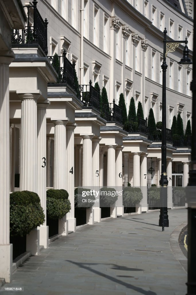 A terrace of residential properties in the affluent Belgravia area of London on April 6, 2013 in London, England. Recent research has indicated that average monthly rents in central London have exceeded 5,000 GBP.
