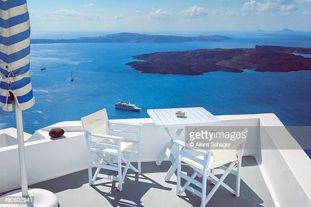 Terrace overlooking the sea in Santorini