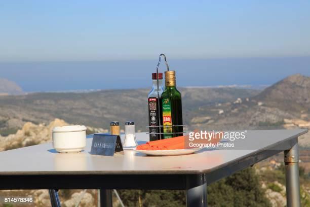 Terrace restaurant table with view Mirador del Coll de Rates Tarbena Marina Alta Alicante province Spain