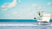 terrace swimming pool and sea view - 3D Rendering