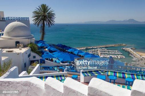 Terrace, view of the port, Sidi Bou Saïd, Tunisia