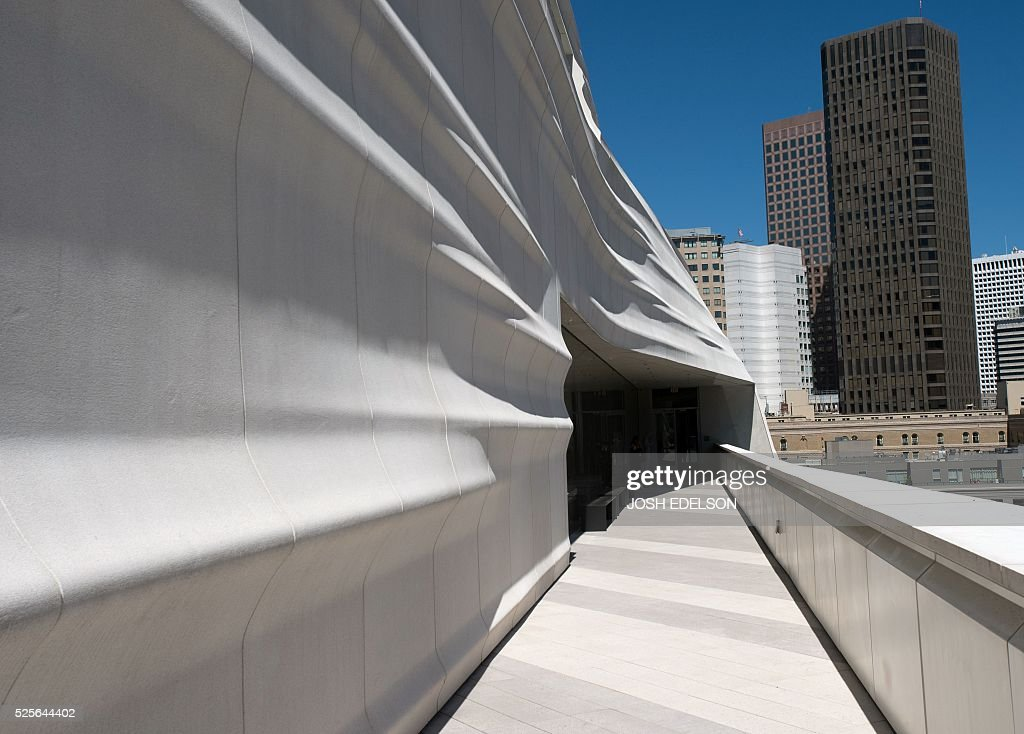A terrace walkway is seen on the 7th floor of the San Francisco Museum of Modern Art (SFMOMA) in San Francisco, California on April 28, 2016. The newly redesigned museum integrates a 10-story expansion in a new building and will open to the public on May 14, 2016. / AFP / Josh Edelson