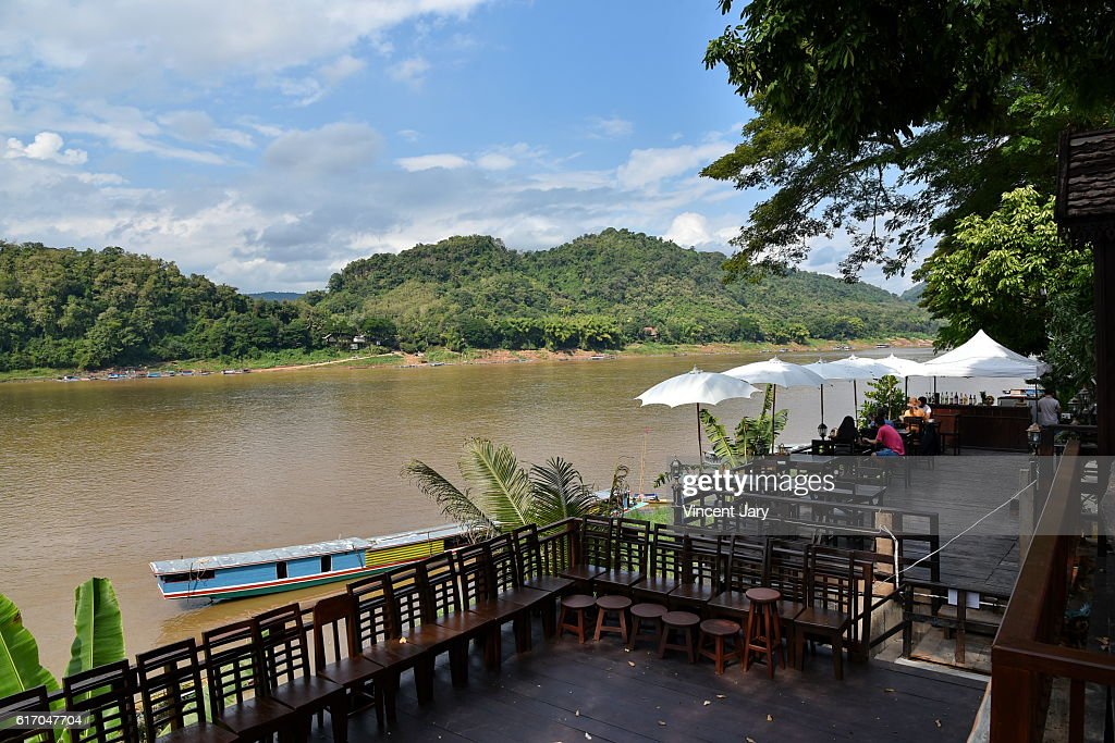 Terrace with mekong river view laos : Stock Photo